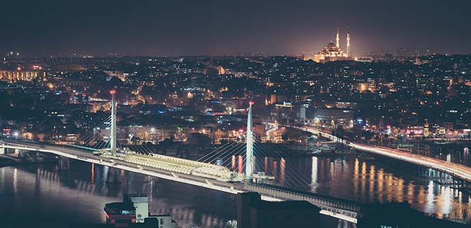 galata tower view istanbul night