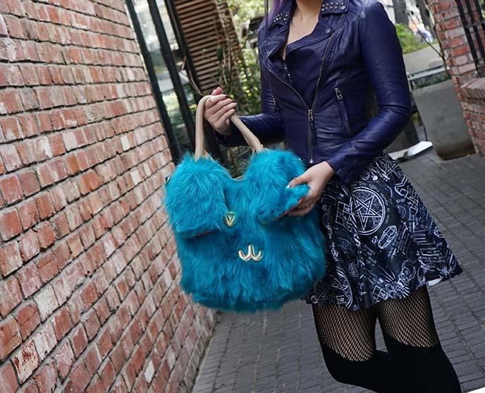 blue studded leather jacket, occult dress