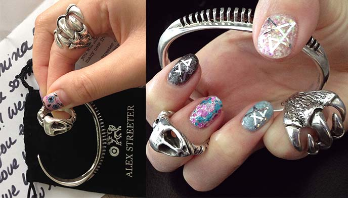 alex streeter silver rings, gothic jewelry