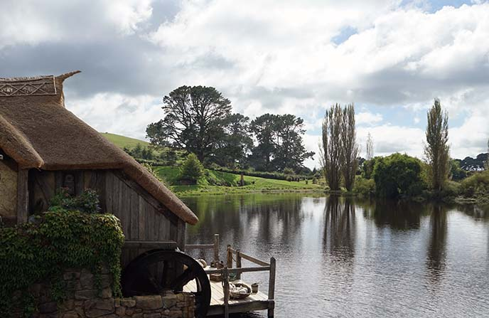 hobbiton pond, water wheel