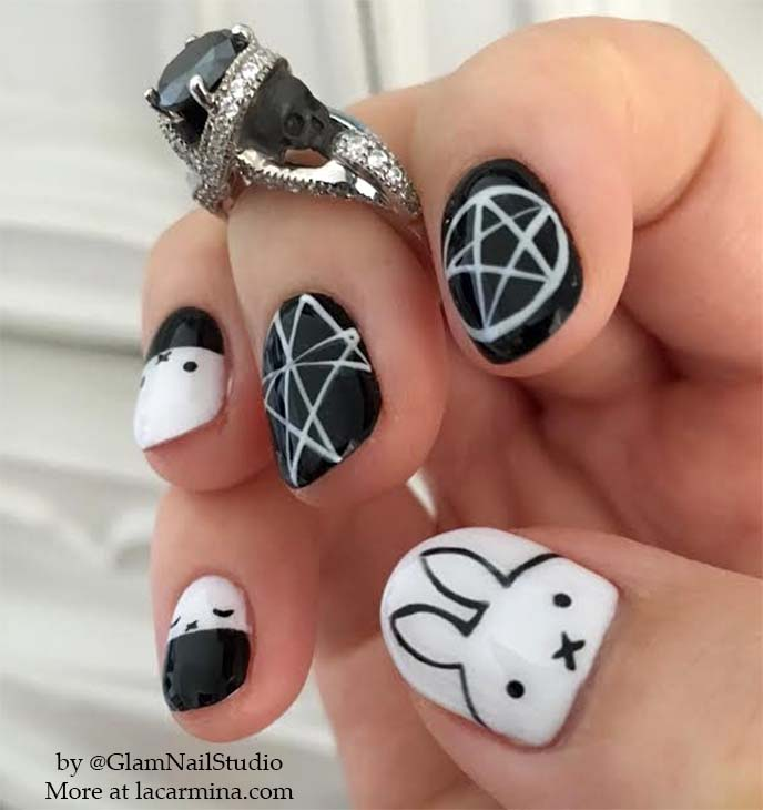 miffy cute bunny nails, nail art design
