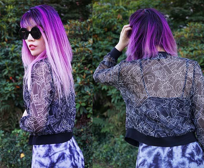 lavender purple hair, disturbia dress