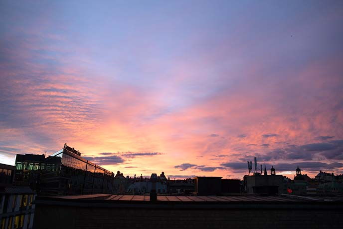stockholm sunset, pink skies sweden