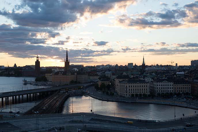 sunset stockholm silhouette city