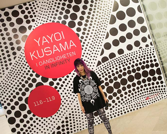 yayoi kusama poster, art exhibit in infinity