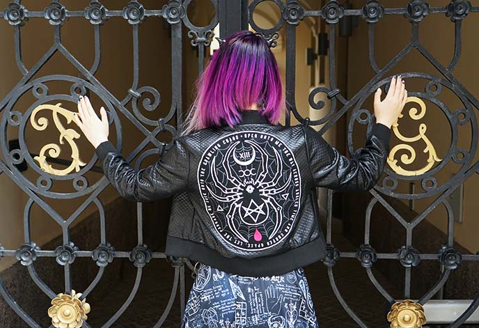 occult leather jacket, gothic tumblr