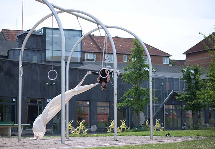 acrobat on rings, silks
