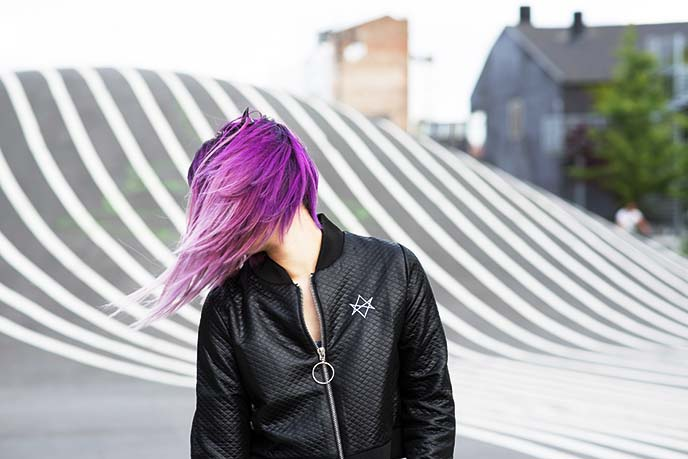 Copenhagen Superkilen fashion modeling goth hair photoshoot