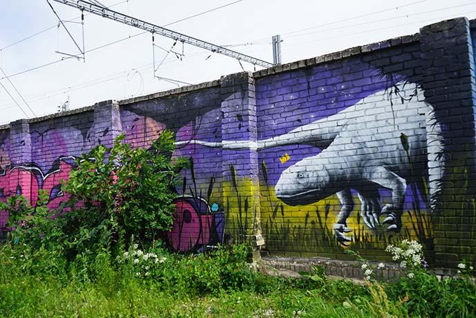 dinosaur mural painting