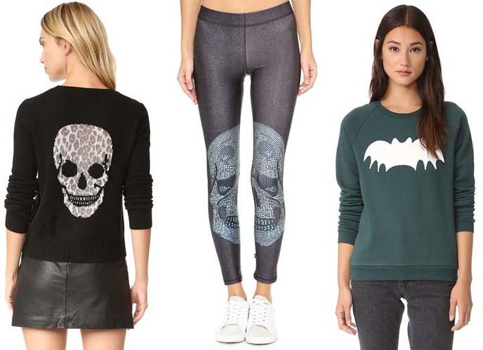 bat sweater, skull leggings