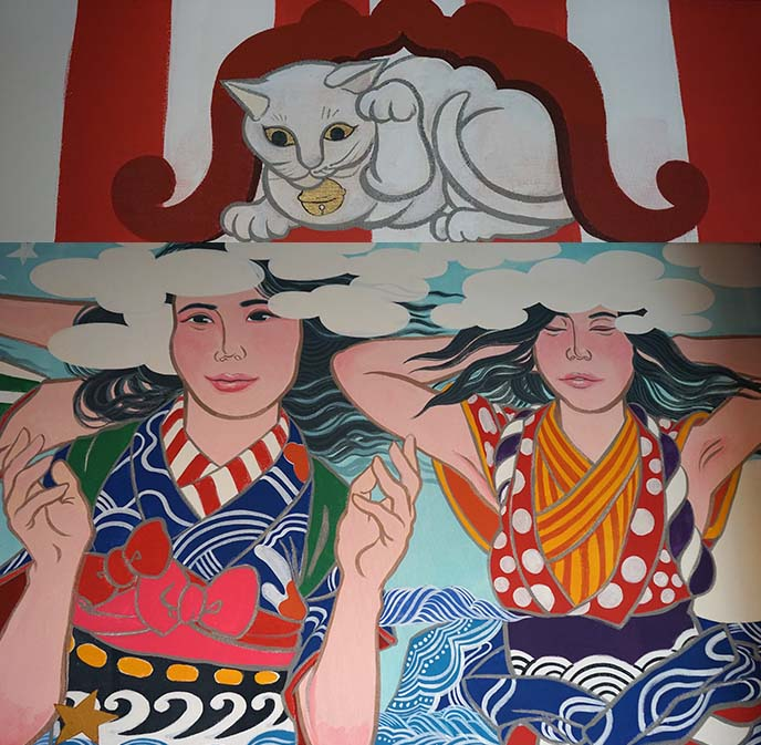 lucky cat painting japan