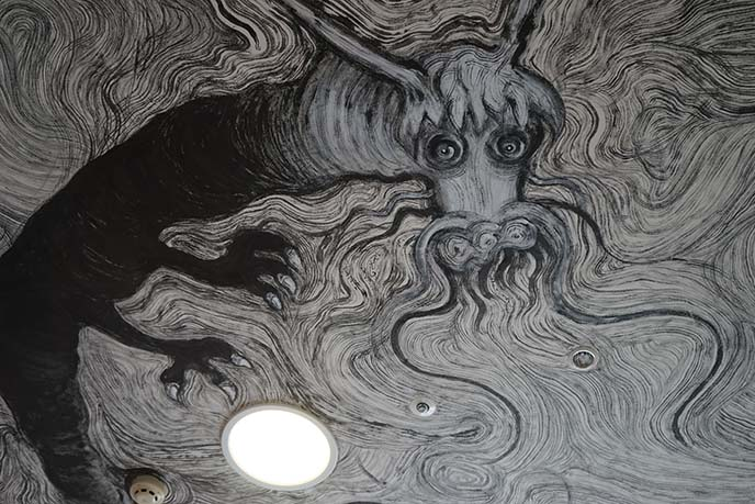 dragon black white mural