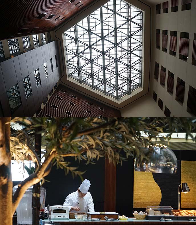 park hotel shiodome lobby, breakfast buffet