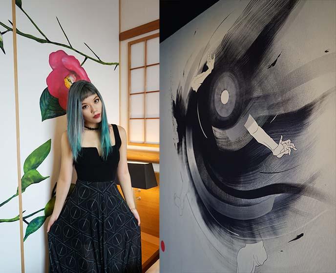 asian goth 90s choker, japanese hotel art