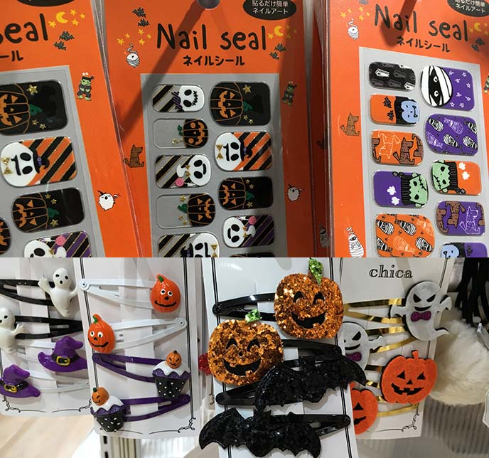 cute halloween nail art stickers, barrettes
