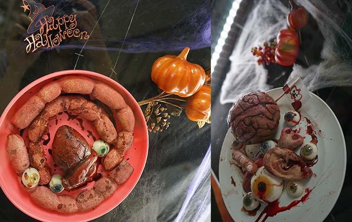 halloween eating eyeballs, disgusting horror food props