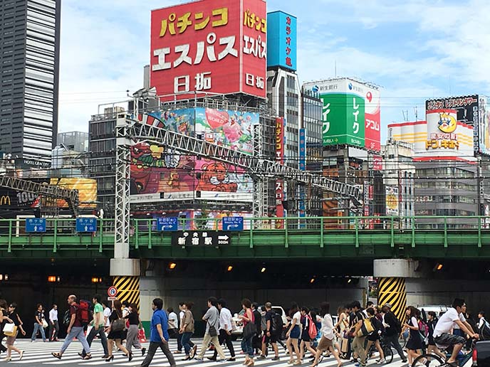 shinjuku station colorful buildings