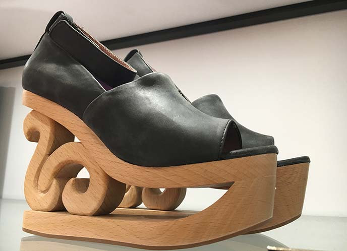 wood cut out heel platform shoes