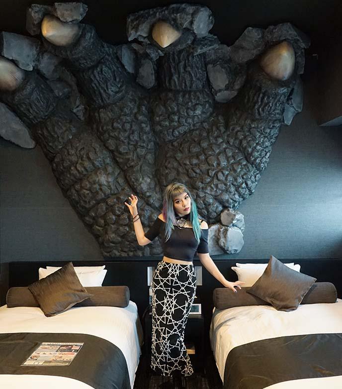 big hand godzilla hotel rooms gracery
