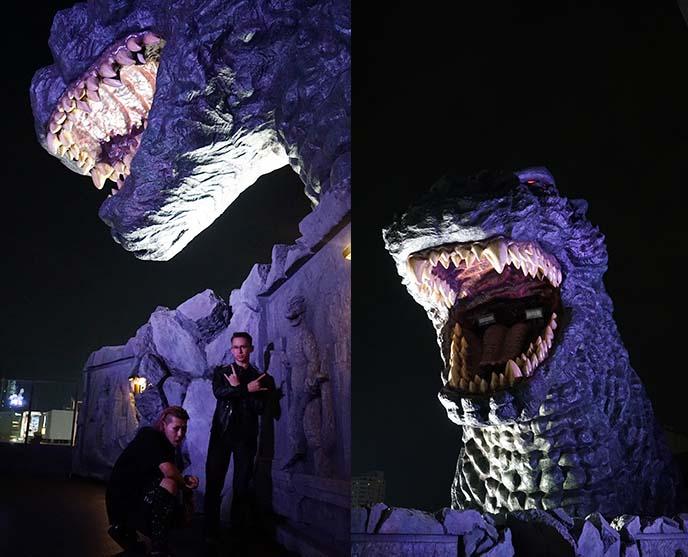 giant godzilla monster sculpture