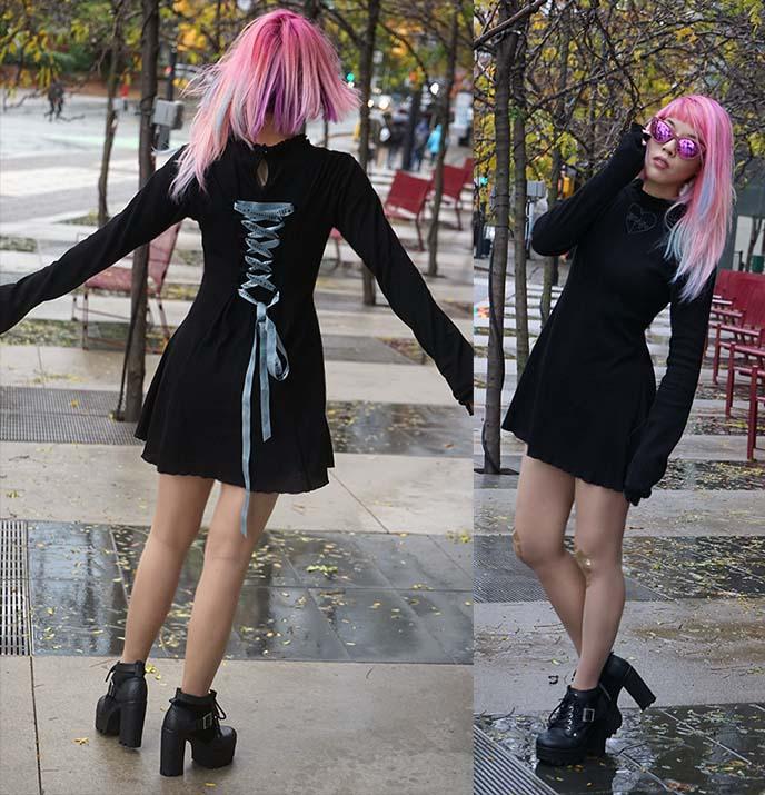 pastel pink hair colour, fairy kei harajuku hairstyle