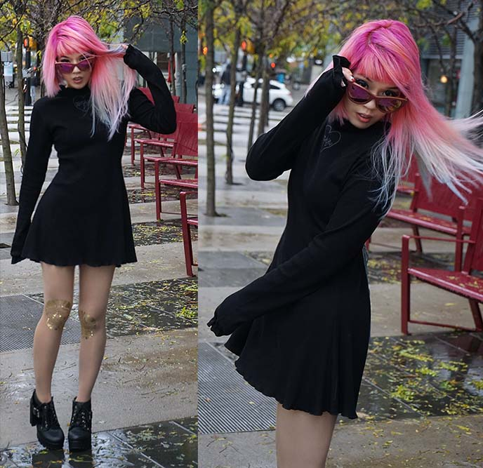 pink hair asian model, fashion blogger