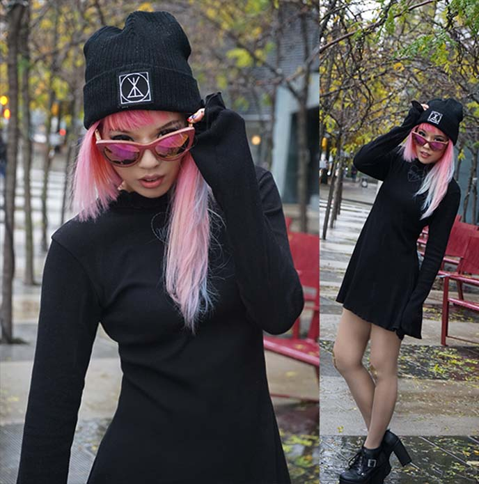 long clothing beanie, morph8ne dress