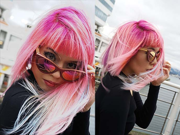 mermaid pink hair, pastel rainbow dyed hair