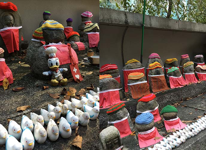 stones wearing bibs rokkakudo kyoto