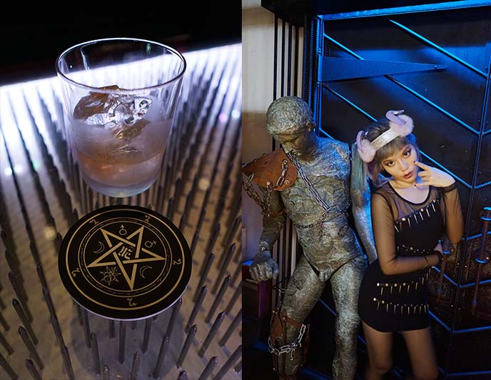 pentagram coasters, satan bar