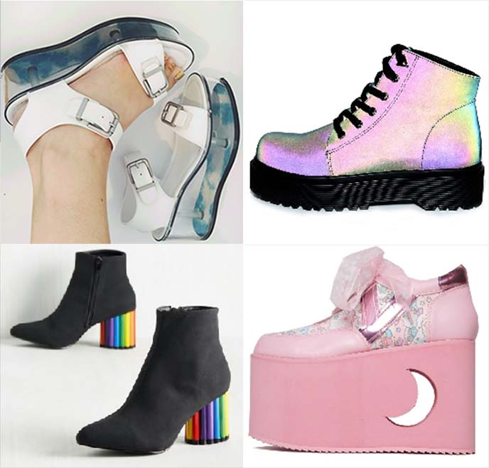 yru shoes rainbow platforms sanrio
