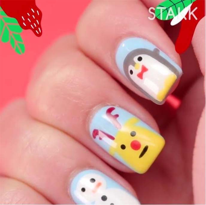 holiday nail art, christmas penguin nails