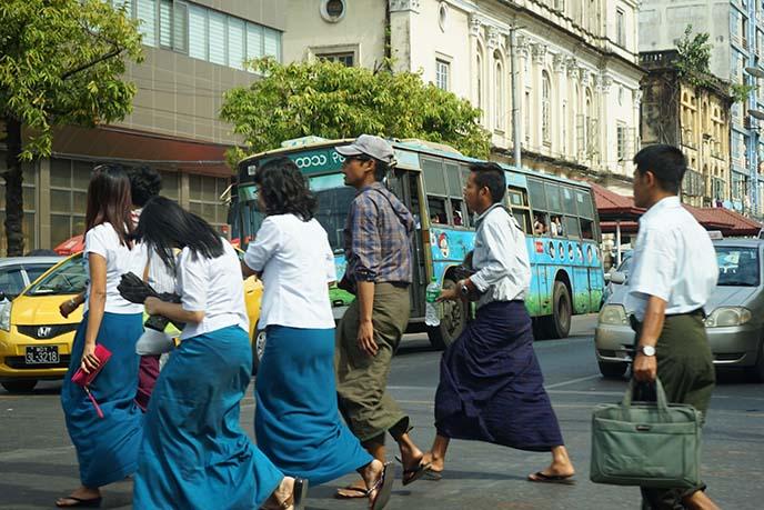 burma school uniforms longyi