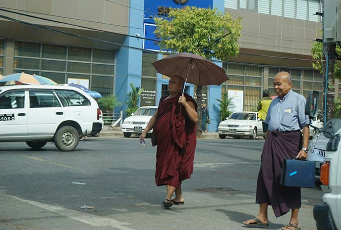 buddhist monk walking yangon