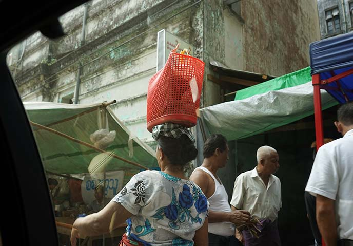 burmese woman basket on head
