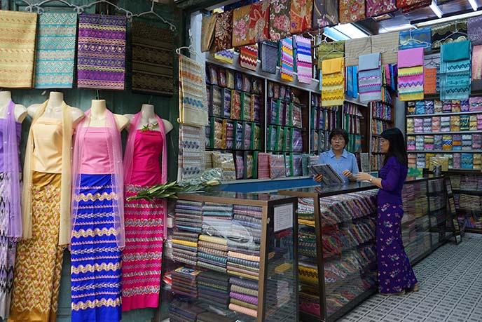 longyi skirts bogyoke market