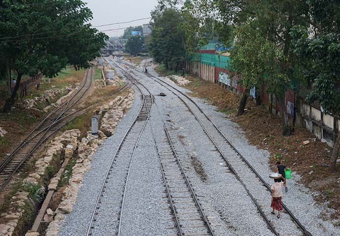 yangon railroad tracks walking