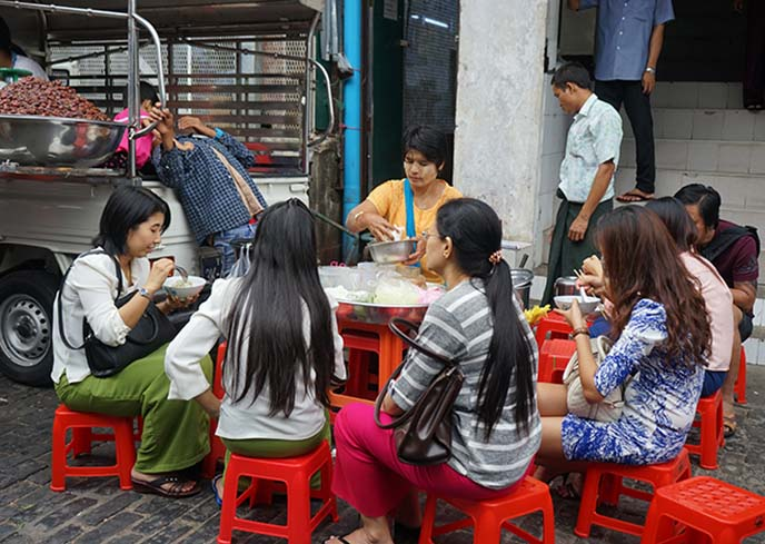 burmese street food market