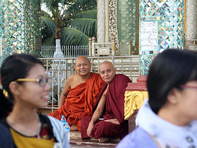 smiling buddhist monks