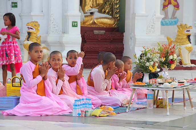 buddhist kids girls shaved heads