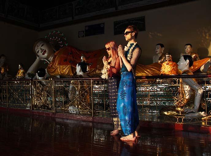reclining electric buddha statue