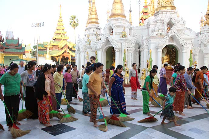 buddhist pilgrimage, sweeping floor