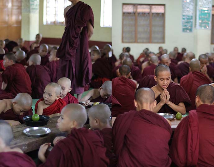 monks lunch monastery myanmar