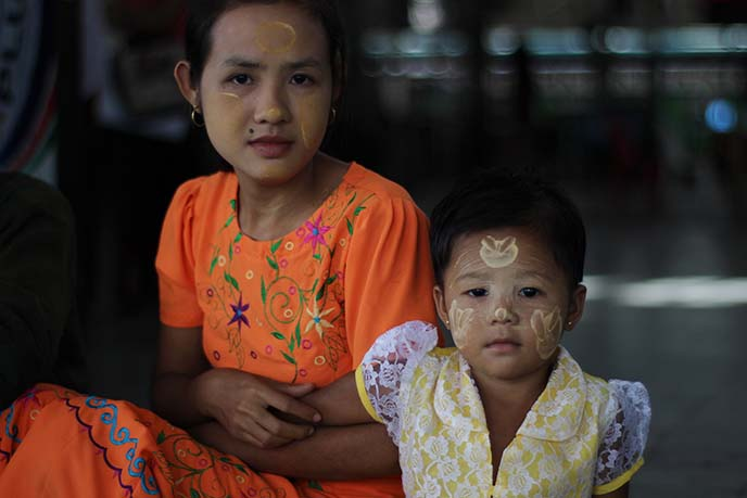burmese child face painted