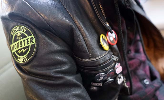 leather jacket punk diy patches pins