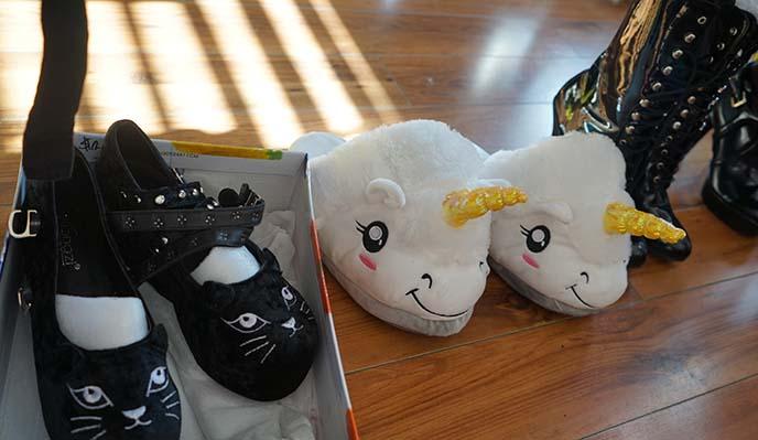 black cat shoes, unicorn slippers