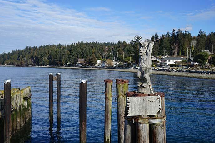 bc islands fishing statue
