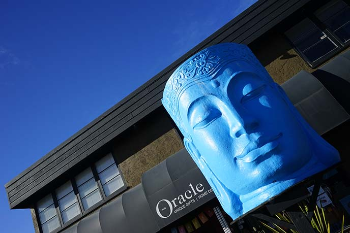 oracle occult store, blue buddha statue