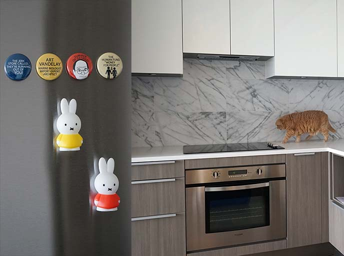 miffy magnets, stainless steel kitchen