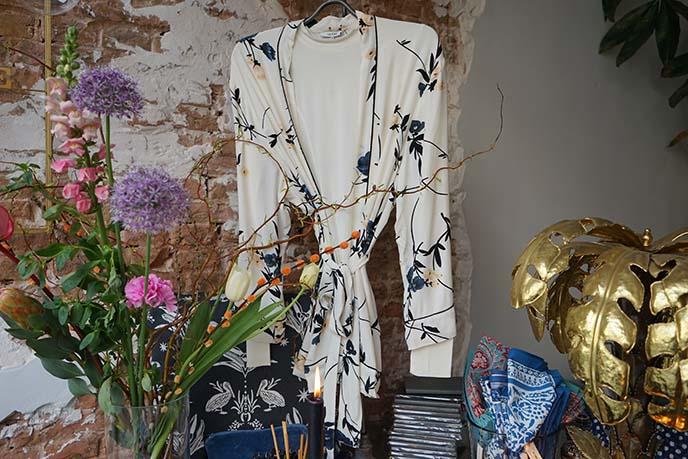 silk floral white kimono gown